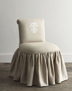 """""""Susan"""" Embroidered-Crest Vanity Stool at Horchow."""