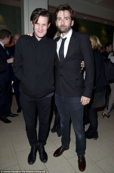 Fancy seeing you here! Former Doctor Who David Tennant bumped into the man who replaced him, Matt Smith, at the press night for West End revival Our Boys