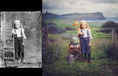 innocence//Accomplished photographer and digital artist Jane Long does not simply colorize old photographs, she creates new works of art using old scenes. Her project is called Dancing with Costică,