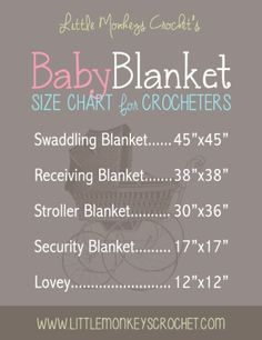 Suggestions for baby blanket sizes. Good to know before starting a project.