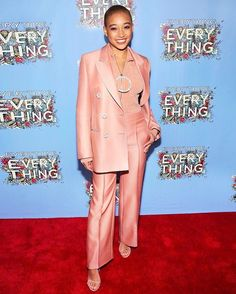 "Who needs jewelry when your shirt is decorated with gems? @amandlastenberg headed to a screening of her new film ""Everything Everything"" in a peachy silk @emiliopucci suit with a delightfully large round rhinestone zipper and more decorations on her blazer. Her peachy makeup? The perfect complement to her millennial pink head-to-toe look. #WhoWonFashionToday : @gettyimages  via INSTYLE MAGAZINE OFFICIAL INSTAGRAM - Fashion Campaigns  Haute Couture  Advertising  Editorial Photography…"