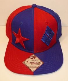 d0f7e825d5ee1 DC Comics Harley Quinn Snapback Hat Cap Red Blue Star Diamonds Dog Under  Bill  Bioworld
