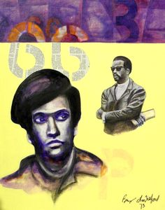 """""""66"""" (Huey and Eldridge) Mixed Media on Canvas Board. Part of the History of the 60's Series. Bryan Lee Tilford"""