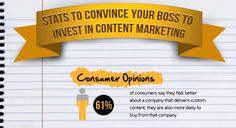 Stats to Convince Your Boss to Invest in Content Marketing [Infographic]. Content Marketing, Internet Marketing, Your Boss, Interesting Stuff, Feel Better, Infographics, Fun Facts, Investing, How To Get
