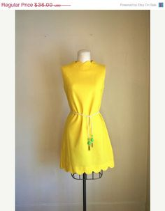 Vintage buttercup yellow shift scooter dress. 1960s. Spring. Summer.