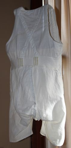 """Men's Combination Underwear, undated The men's combination suit emerged in the latter half of the 19th Century. Also called """"union suits"""" these underwear combined a vest and drawers into a single, easy-to-wear garment."""