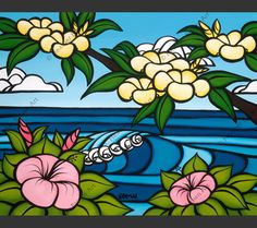 Surf art by Heather Brown featuring bright flowers on a warm sunny beach day. Hawaiian Art, Hawaiian Flowers, Plumeria Flowers, Heather Brown Art, Hanging Canvas, Tropical Art, Sea Art, Collaborative Art, Hand Painting Art