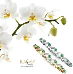 #Dazzling #White & #Yellow Gold #Designer #Diamond & #Emerald #Bangle #collection By @rasavjewels