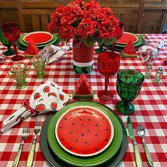 Watermelon Decor, Watermelon Salad, Half Gallon Mason Jars, Wedding Wine Bottles, Printed Napkins, Bottle Lights, Wine Bottle Crafts, Twinkle Lights, Table Settings