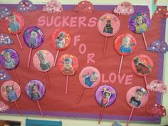 This is a Valentine's Day bulletin board. We painted them with tempora paint and corn starch so that they would have a gloss to them.