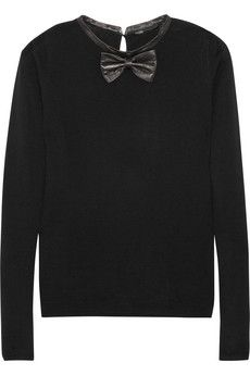 majepamplune leather-trimmed wool sweater.