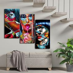 Graffiti Women Portrait Oil Painting Poster And Prints Wall Decor For Living Room Canvas Painting Wall Art Picture Home Posters