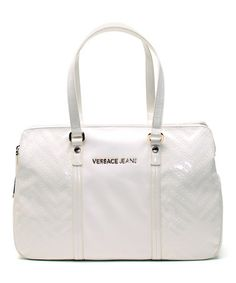 Look at this #zulilyfind! White Zigzag Embossed Patent Leather Tote by Versace Jeans Collection #zulilyfinds