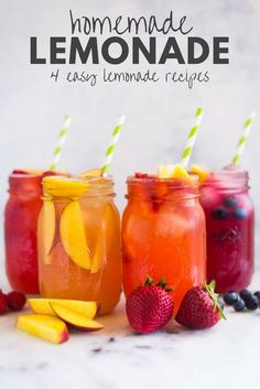 Homemade Lemonade + 4 Easy Lemonade Recipes Skip the sugar and let me show you how to make homemade lemonade with honey. Check out this easy homemade lemonade recipe plus 4 flavorful and fruit lemonade variations! Honey Lemonade, Flavored Lemonade, Raspberry Lemonade, Lemonade Drink, Watermelon Lemonade, Lavender Lemonade, Frozen Lemonade, Easy Lemonade Recipe, Homemade Lemonade Recipes