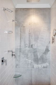 A feature wall that will make you feel you having a relaxing shower in another part of the world