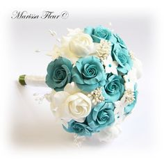 white wedding dress with turquoise accents | Wedding Bouquet With Turquoise / Aqua Blue Roses, White Gardenias And ...