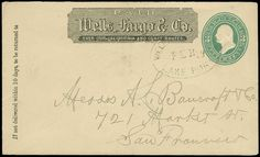"USA Wells Fargo U164, 3c Green on Amber, Wells Fargo, Lake Port, Feb 12 blue oval on entire with ""Paid, Wells Fargo & Co"" printed frank, addressed San Francisco CA, Very Fine, scarce express marking from this northern Lake County town"