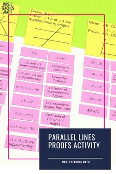 If you're teaching high school geometry, students need so much practice with PROOFS! This cut and paste activity is TIME TESTED to help students with parallel lines proofs. It's the perfect activity to use after the lesson before assigning a worksheet for homework. Geometry Interactive Notebook, Geometry Vocabulary, Math Tutor, Math Education, Geometry Proofs, Middle School, High School, Math Writing, Teaching Vocabulary