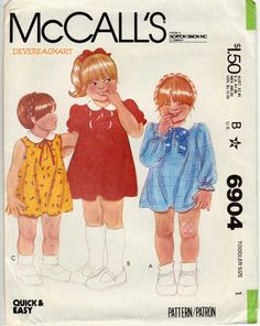 1979  McCall's Pattern 6904  UNCUT  Size 1  by Devereauxart (Craft Supplies & Tools, Patterns & Tutorials, Mccalls 6904, vintagetoddler 6904, 1979, size 1, dress, dresses)
