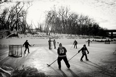 Playing hockey on The River Trail at the Forks in Winnipeg, Manitoba. Forked River, River Trail, Cool Countries, The Province, Take Me Home, Travel Photography, Wildlife, Canada, In This Moment