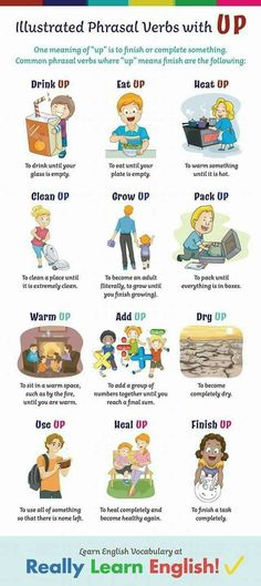 This lesson explains the basic principles behind phrasal verbs with UP: illustra. - Teaching and Learning English (Vocabulary, Grammar, Stories, Worksheets, etc. English Prepositions, Learn English Grammar, Learn English Words, English Phrases, English Idioms, English Language Learning, English Writing, English Study, English Lessons