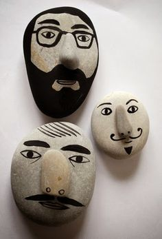 paper faces: Pebble Painting Art