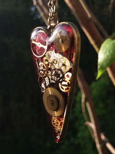 Red Timeless Steampunk Heart Pendant