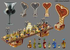 """alisketch: """" Here's a bunch of Ballroom Stuff I painted for The Book of Life. The design/layout of the room was done by Fred Gardner (he did the layout drawing of the full ballroom and some of the. Prop Design, Game Design, Game Concept, Concept Art, Book Of Life Movie, Luigi, Texture Drawing, Game Props, Portfolio Book"""