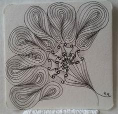 Ein Zentangle aus den Mustern Funnels, Onion Drops, , gezeichnet von Ela Rieger Doodles Zentangles, Zentangle Patterns, Coloring Sheets, Art Forms, Inktober, Tangled, Creative Art, Den, Onion