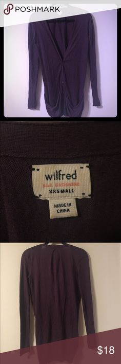 Wilfred cardigan Silk cashmere blend. Button up. Plum or eggplant colored. Very soft. Buttons are small pyramids. Long, but arms are true to size. From Aritzia Aritzia Sweaters Cardigans