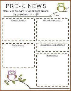 free owl newsletter template from teachers pay teachers