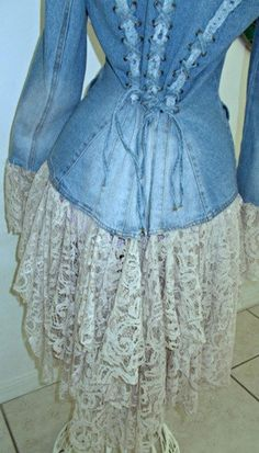 Denim Corset, Denim And Lace, Stevie Nicks, Types Of Lace, Altered Couture, Embellished Jeans, Lace Jacket, Beige, Lace Ruffle