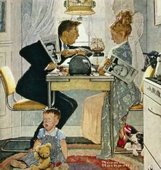 Norman Rockwell Best Paintings Ever | Norman Rockwell's Breakfast Table Political Argument