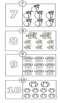 colorează şi numără 7-10 7 And 7, Word Search, Diagram, Words, Coloring, Horse