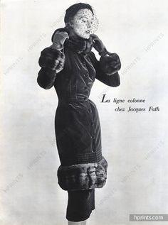 Jacques Fath (Couture) 1950 Coat Velvet and Fur