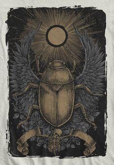 Scarabs sacrifice - T-shirt design by TONY MIDI - Mintees Scarab Tattoo, Body Adornment, Insect Art, People Art, Medium Art, Tattoo Inspiration, Egyptian, Illustration Art, Halloween