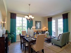 Love the dining table, chairs, and colors. www.ryland.com