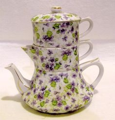 Lefton Violet Chintz Stacking Teapot, Creamer and Sugar Set.  This was only made…