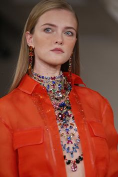 Ralph Lauren added a dose of colorful bling to his safari mood with these multistrand gemstone necklaces in bib styles (here) and in chokers shown with embellishments on ready-to-wear.
