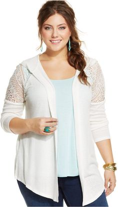 Plus Size Crochet-Detail Hooded Cardigan