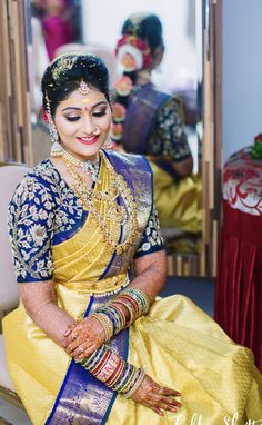 Honestly, when bride Sirisha sent in her pictures, we forgot to breathe for a… - Wedding Saree Blouse Designs, Pattu Saree Blouse Designs, Fancy Blouse Designs, Saree Wedding, Making Ideas, Lehenga, Breathe, Work Blouse, Indian Sarees