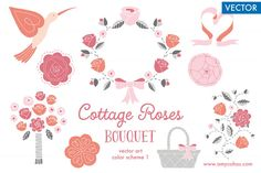 Check out Cottage Roses Bouquet 1: Vector Art by Amy Ina Studio on Creative Market