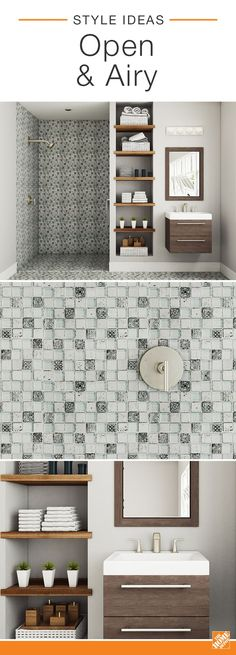 This small bath feels open and airy thanks to a mosaic tile design that covers both the shower and the floor. Walnut open shelving, a floating vanity and a large framed mirror help to visually add space to this chic guest bathroom. Click to learn more about this on-trend look.