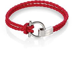 Salvatore Ferragamo Braided Leather Gancini Bracelet for men at Saks Fifth Avenue