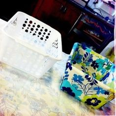 Dollar Store Bins made over with fabric. Love this idea
