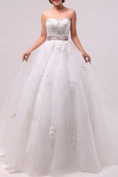 US $386.40   Organza scoop gulv lengde ball kjole brudekjole med paljetter