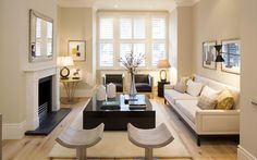 Formal living room in family house developed in the Alphabet Streets Fulham for property investor. Palladian London