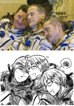 Hetalia's Russia, America and Canada as astronauts| Aww! Soo Cute, and suits the characters so well too!~ I think there should be an episode about them going into space