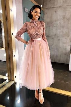 Long Sleeve Pink High Neck Ankle Length Homecoming Dresses Beads Tulle Short Dress on sale – PromDress.uk Long Sleeve Pink High Neck Ankle Length Homecoming Dresses Beads Tulle Short Dress on sale – PromDress. Modest Dresses, Elegant Dresses, Pretty Dresses, Short Dresses, Maxi Dresses, Formal Dresses, Wedding Dresses, Awesome Dresses, Tulle Dress