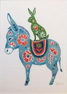 ORIGINAL art folk art print hare art donkey print by Bambica